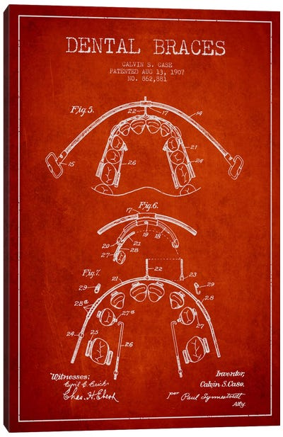 Dental Braces Red Patent Blueprint Canvas Print #ADP1797