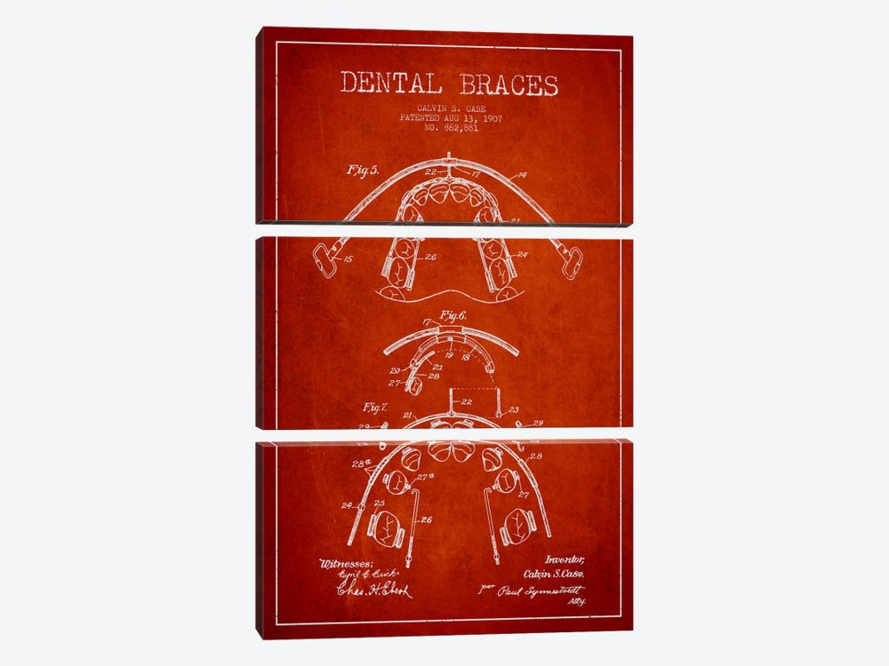 Dental Braces Red Patent Blueprint by Aged Pixel 3-piece Canvas Art Print