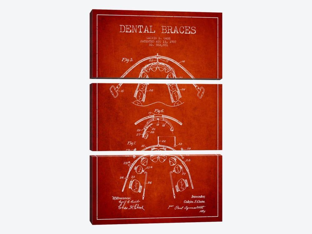 Dental Braces Red Patent Blueprint by Aged Pixel 3-piece Canvas Art Print