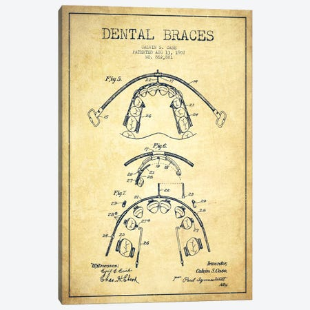 Dental Braces Vintage Patent Blueprint Canvas Print #ADP1798} by Aged Pixel Canvas Art