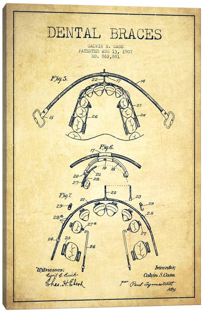 Dental Braces Vintage Patent Blueprint Canvas Print #ADP1798