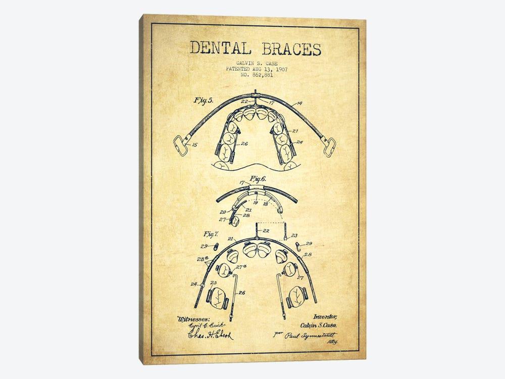 Dental Braces Vintage Patent Blueprint by Aged Pixel 1-piece Canvas Art