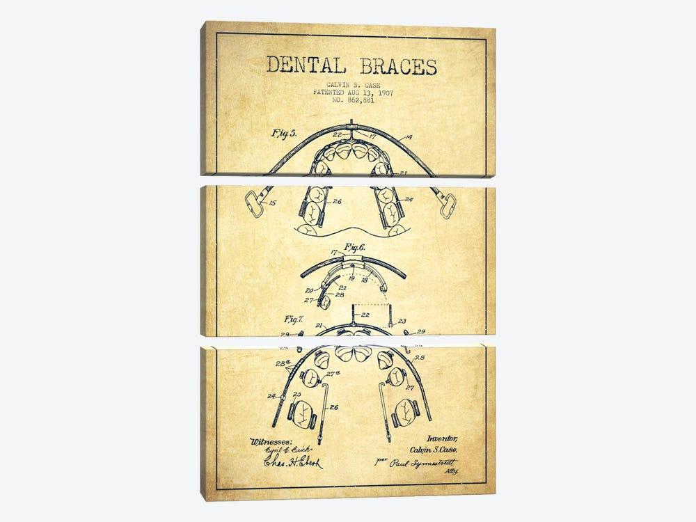 Dental Braces Vintage Patent Blueprint by Aged Pixel 3-piece Canvas Wall Art