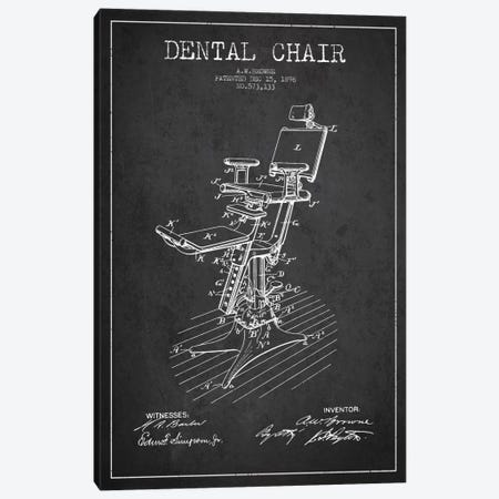 Dental Chair Charcoal Patent Blueprint Canvas Print #ADP1799} by Aged Pixel Canvas Art