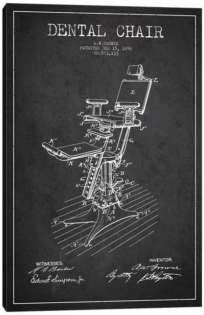 Dental Chair Charcoal Patent Blueprint Canvas Art Print