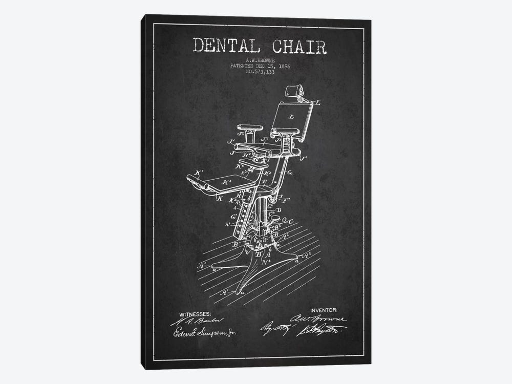 Dental Chair Charcoal Patent Blueprint by Aged Pixel 1-piece Art Print
