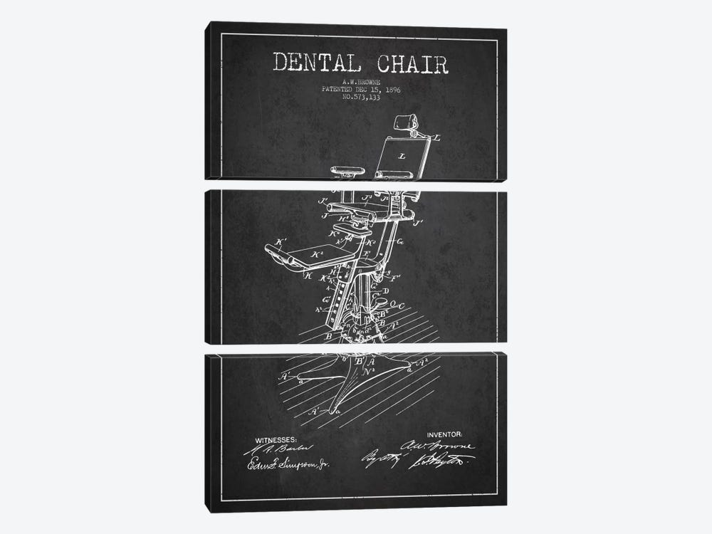 Dental Chair Charcoal Patent Blueprint by Aged Pixel 3-piece Art Print