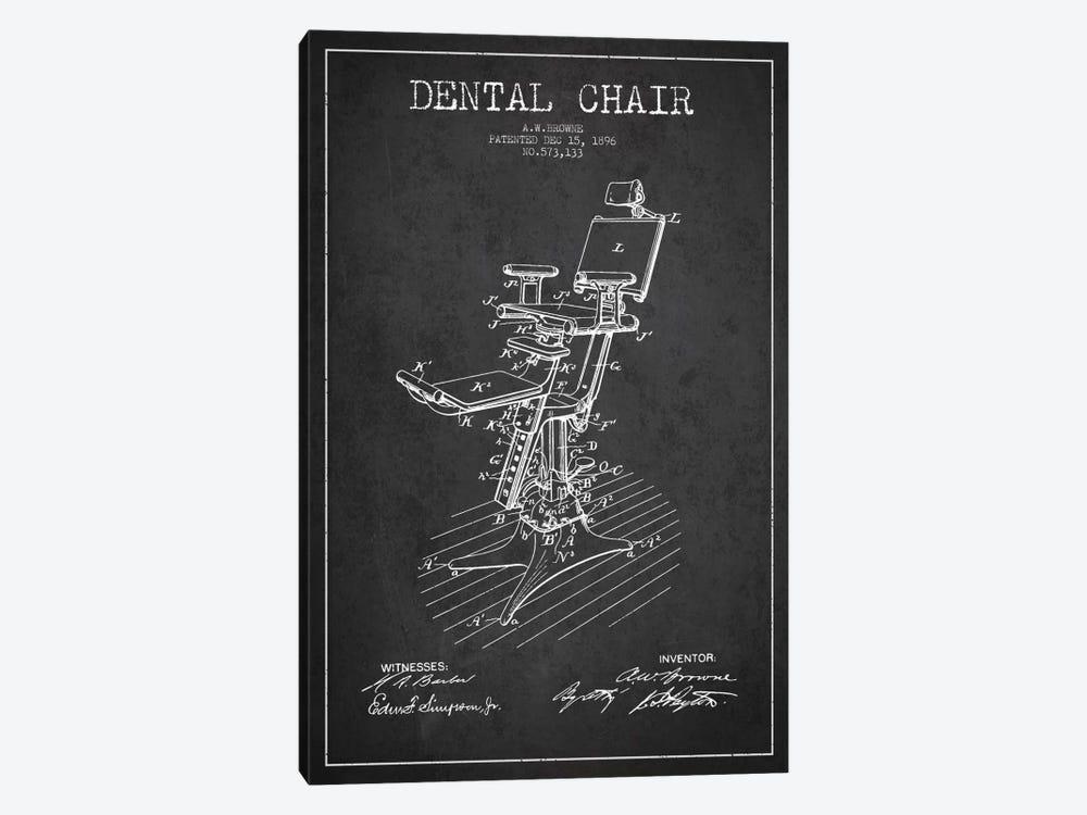 Dental Chair Charcoal Patent Blueprint by Aged Pixel 1-piece Art Print