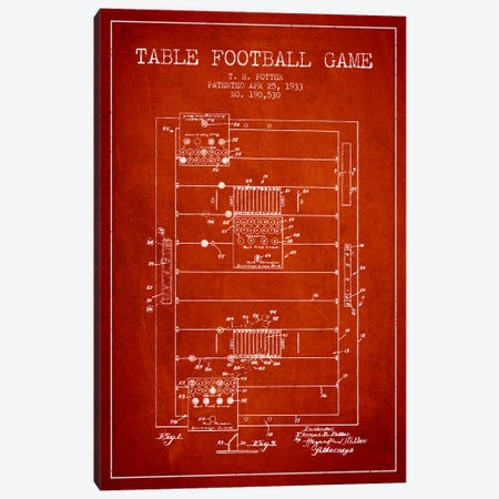 Table Football Red Patent Blueprint Canvas Print #ADP179} by Aged Pixel Art Print
