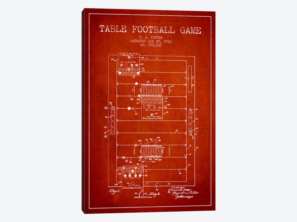 Table Football Red Patent Blueprint by Aged Pixel 1-piece Canvas Wall Art