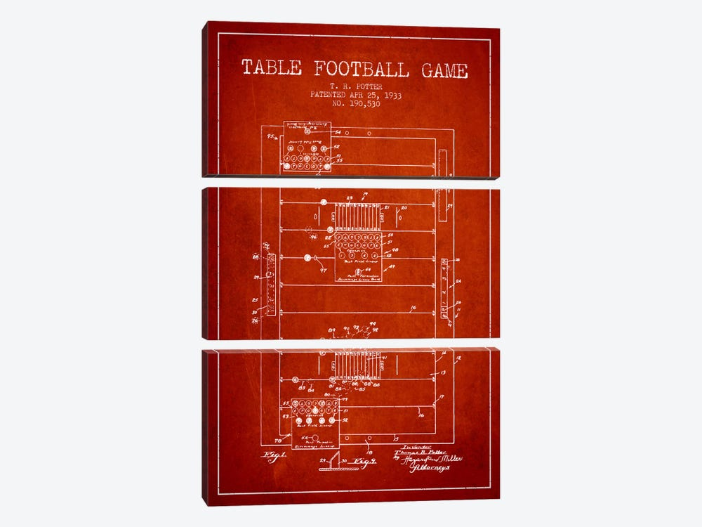 Table Football Red Patent Blueprint by Aged Pixel 3-piece Canvas Artwork