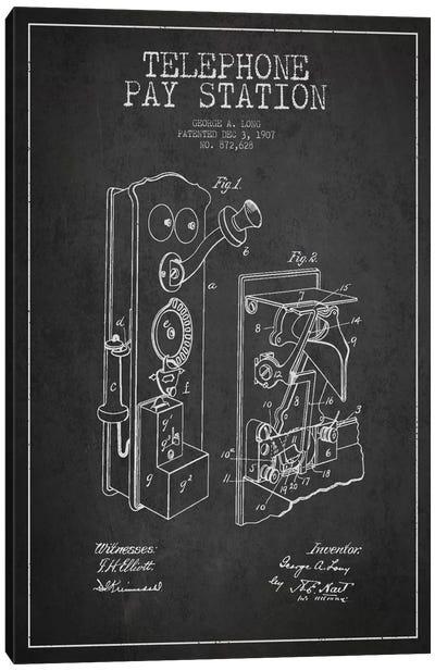 Long Telephone Dark Patent Blueprint Canvas Art Print