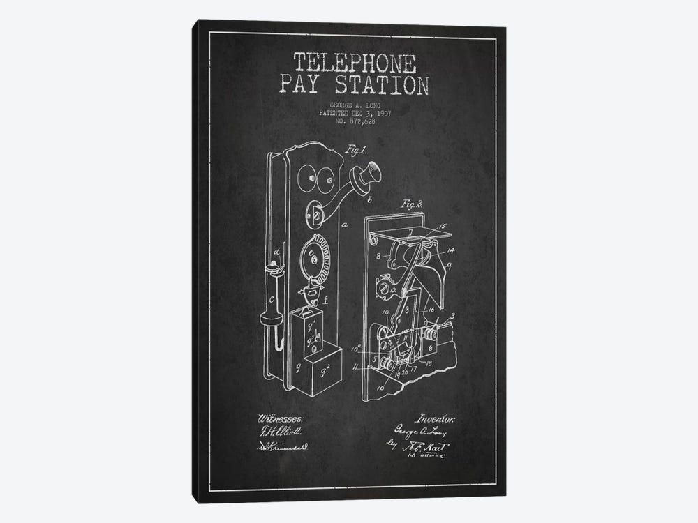 Long Telephone Dark Patent Blueprint by Aged Pixel 1-piece Canvas Art Print