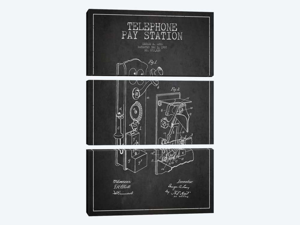 Long Telephone Dark Patent Blueprint by Aged Pixel 3-piece Canvas Print