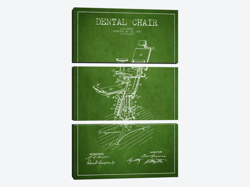 Dental Chair Green Patent Blueprint by Aged Pixel 3-piece Canvas Art Print