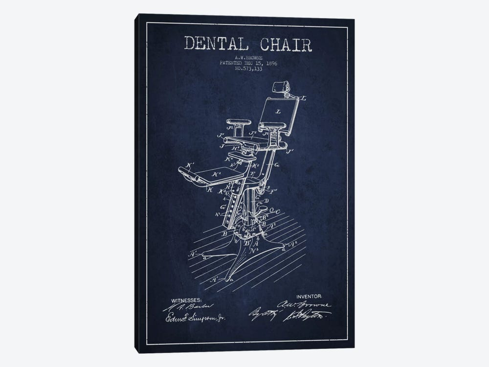 Dental Chair Navy Blue Patent Blueprint by Aged Pixel 1-piece Canvas Artwork