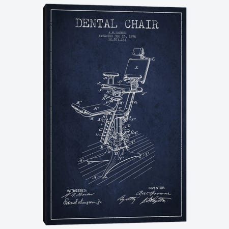 Dental Chair Navy Blue Patent Blueprint Canvas Print #ADP1801} by Aged Pixel Canvas Art