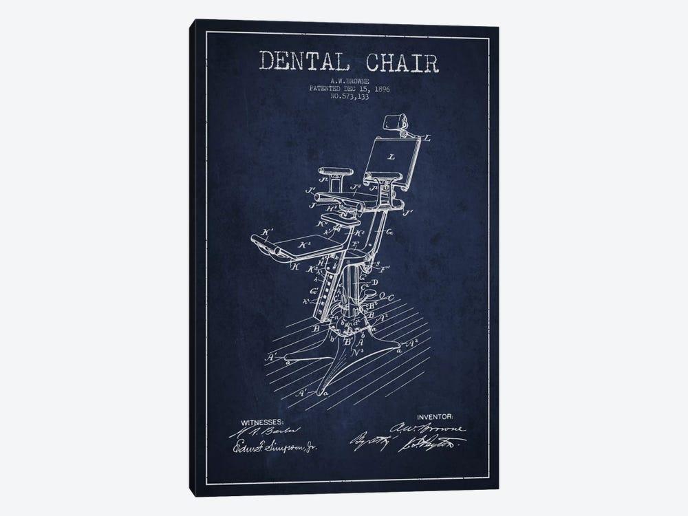 Dental Chair Navy Blue Patent Blueprint by Aged Pixel 1-piece Canvas Artwork