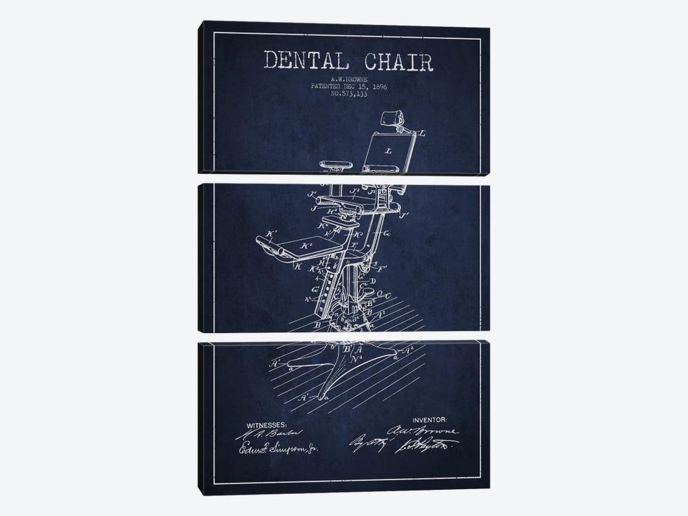 Dental Chair Navy Blue Patent Blueprint by Aged Pixel 3-piece Canvas Wall Art