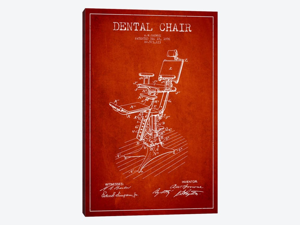 Dental Chair Red Patent Blueprint by Aged Pixel 1-piece Canvas Art Print