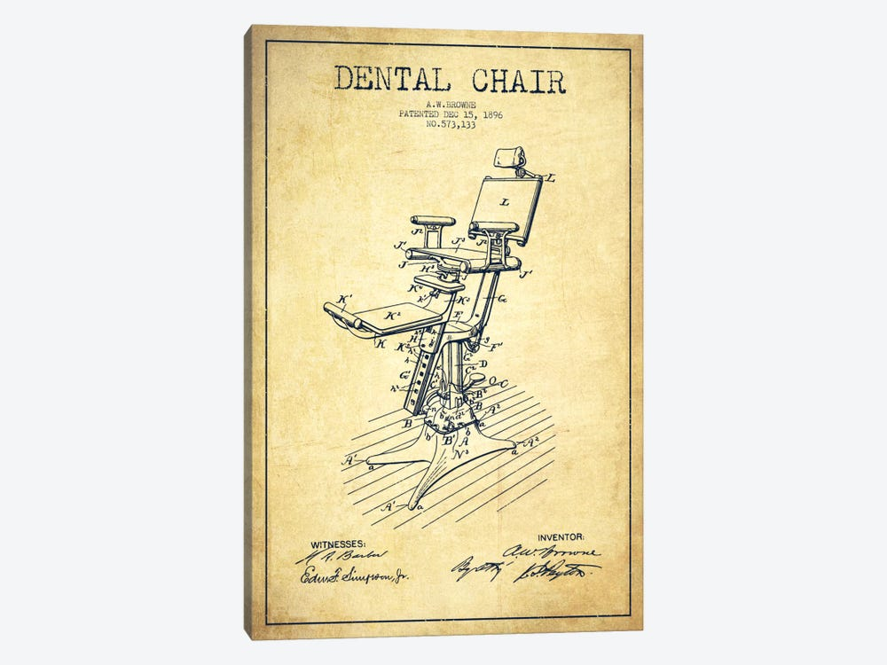 Dental Chair Vintage Patent Blueprint by Aged Pixel 1-piece Canvas Wall Art