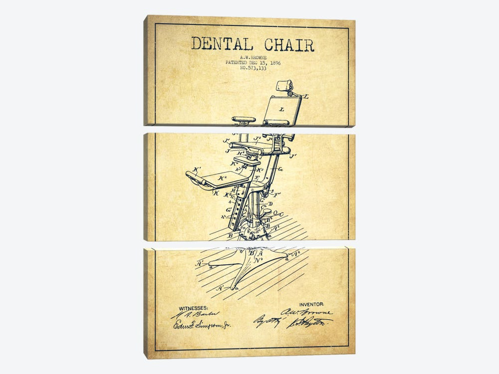 Dental Chair Vintage Patent Blueprint by Aged Pixel 3-piece Canvas Artwork