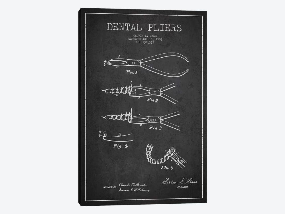 Dental Pliers Charcoal Patent Blueprint by Aged Pixel 1-piece Art Print
