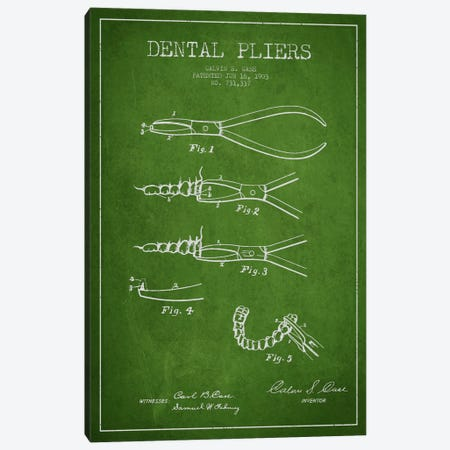 Dental Pliers Green Patent Blueprint Canvas Print #ADP1805} by Aged Pixel Canvas Art Print