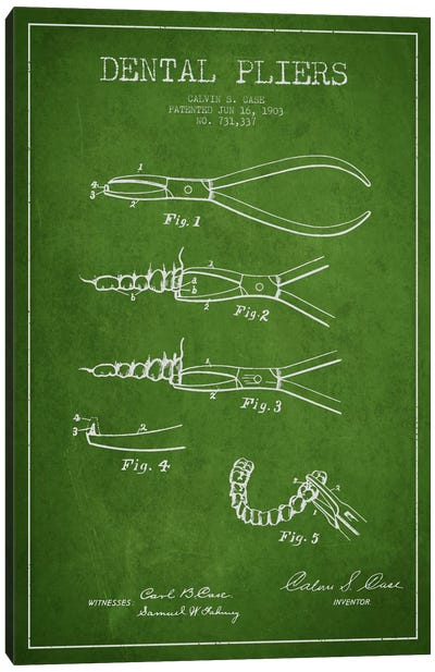Dental Pliers Green Patent Blueprint Canvas Art Print