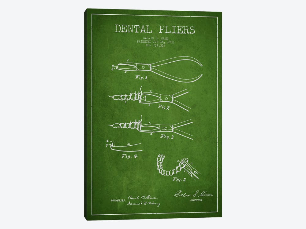 Dental Pliers Green Patent Blueprint by Aged Pixel 1-piece Canvas Artwork