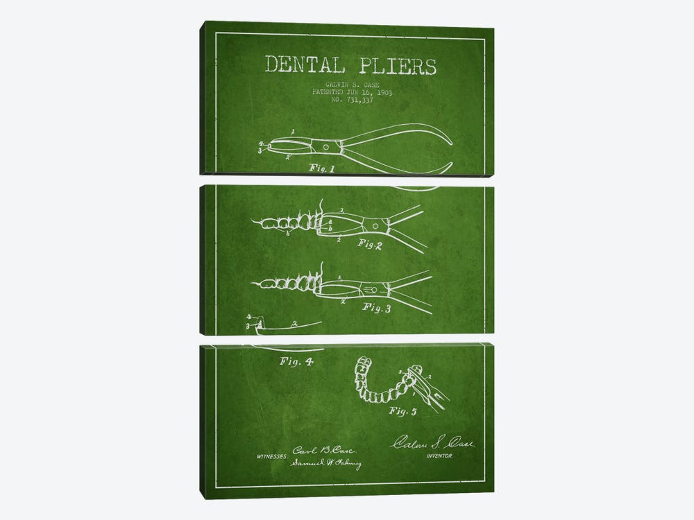 Dental Pliers Green Patent Blueprint by Aged Pixel 3-piece Canvas Wall Art