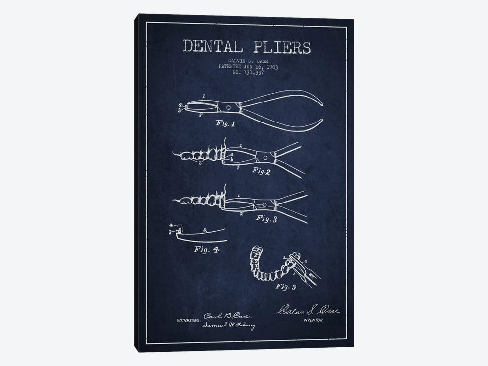Dental Pliers Navy Blue Patent Blueprint 1-piece Art Print