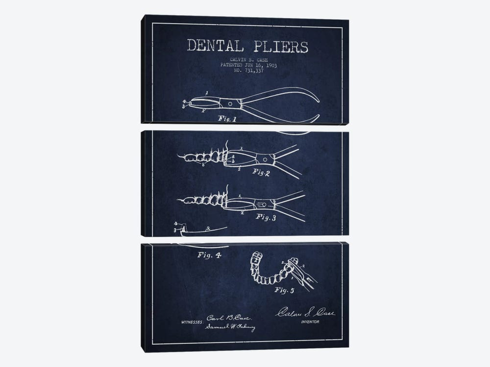 Dental Pliers Navy Blue Patent Blueprint by Aged Pixel 3-piece Canvas Art Print