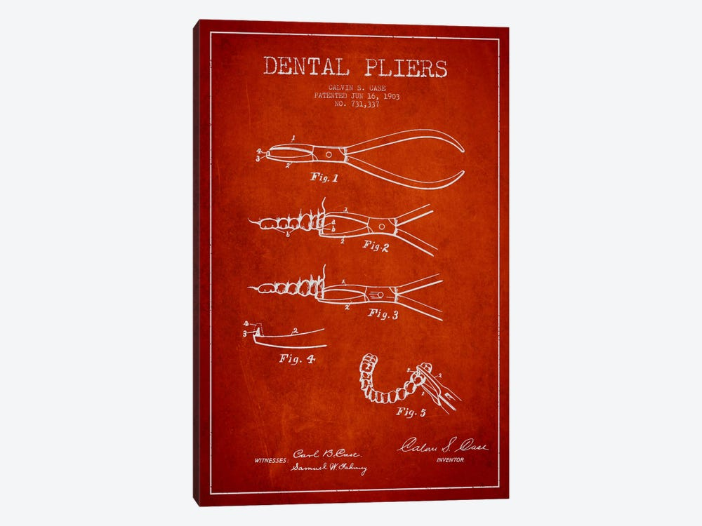 Dental Pliers Red Patent Blueprint by Aged Pixel 1-piece Canvas Art