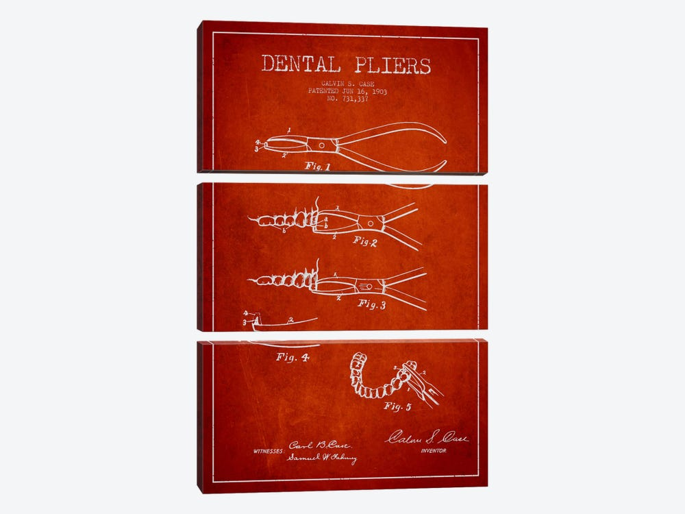 Dental Pliers Red Patent Blueprint by Aged Pixel 3-piece Canvas Artwork