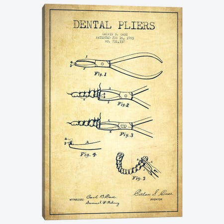 Dental Pliers Vintage Patent Blueprint Canvas Print #ADP1808} by Aged Pixel Canvas Wall Art