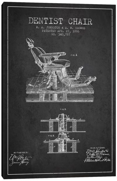 Dentist Chair Charcoal Patent Blueprint Canvas Print #ADP1809