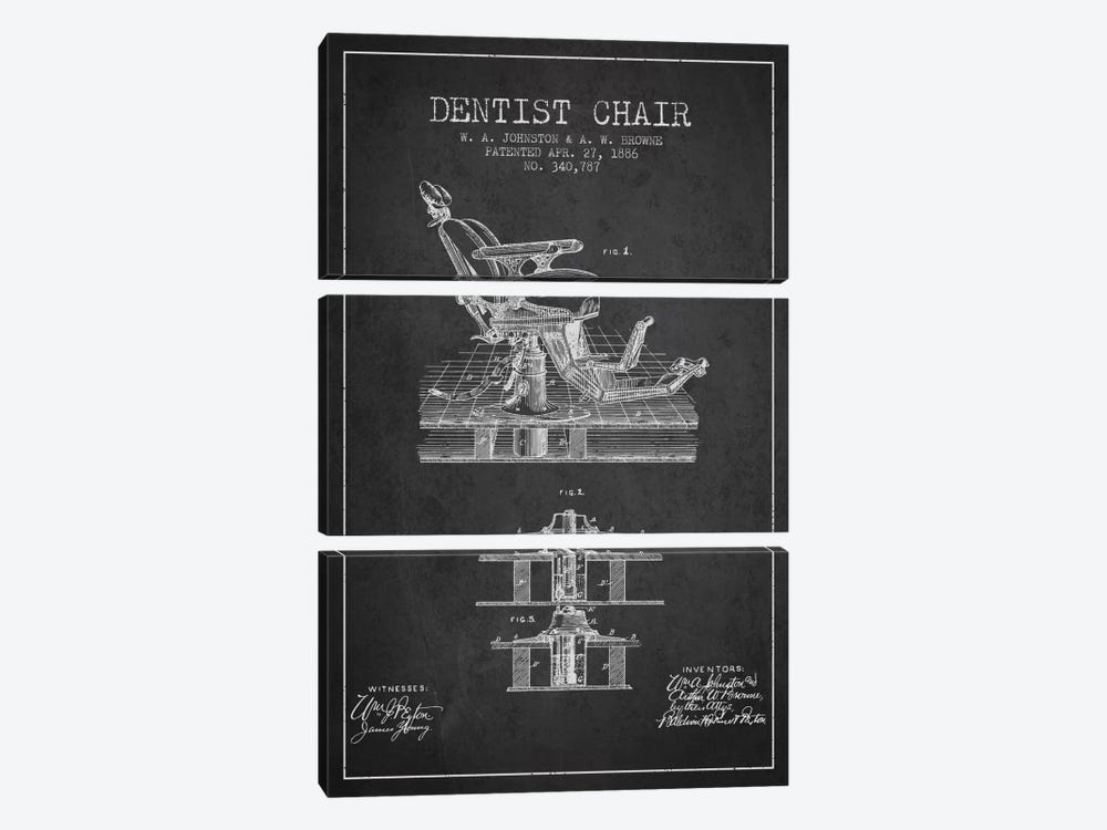 Dentist Chair Charcoal Patent Blueprint by Aged Pixel 3-piece Canvas Art