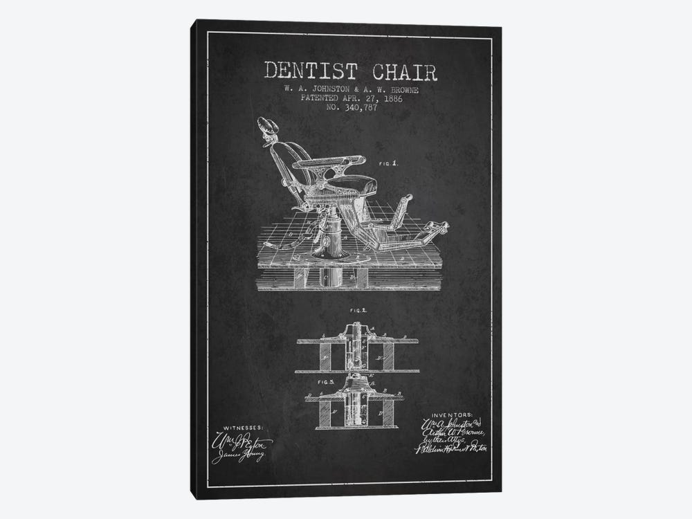 Dentist Chair Charcoal Patent Blueprint by Aged Pixel 1-piece Canvas Artwork
