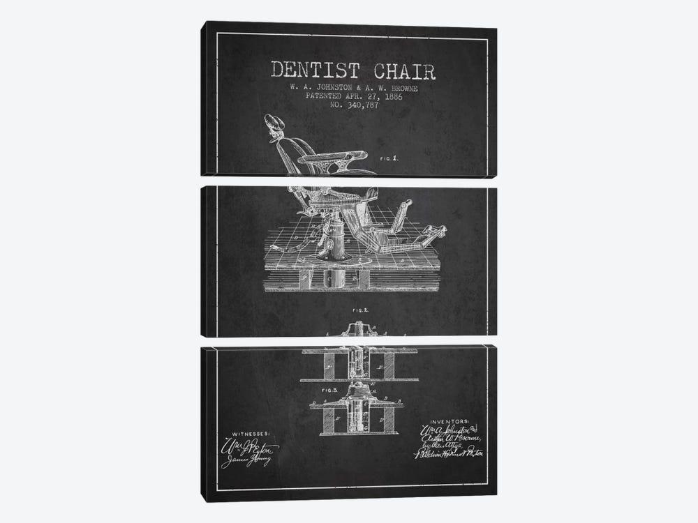 Dentist Chair Charcoal Patent Blueprint by Aged Pixel 3-piece Canvas Art