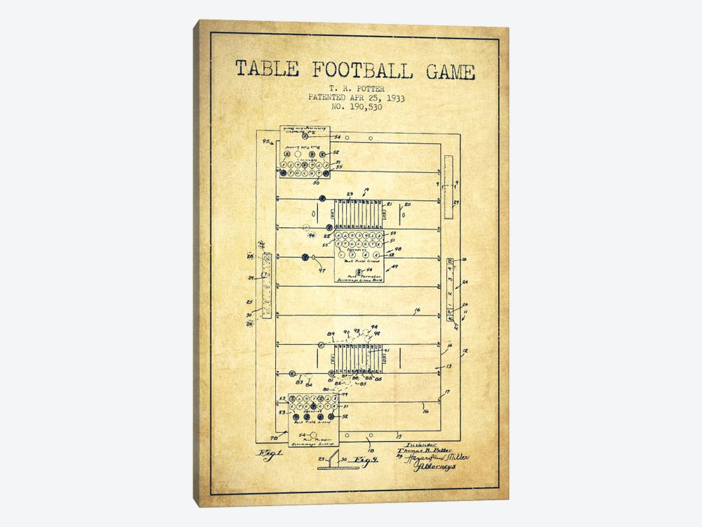 Table Football Vintage Patent Blueprint by Aged Pixel 1-piece Canvas Art