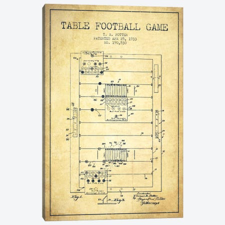 Table Football Vintage Patent Blueprint Canvas Print #ADP180} by Aged Pixel Canvas Artwork