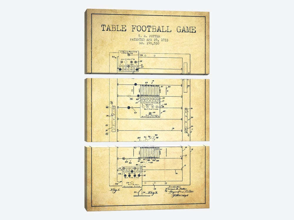 Table Football Vintage Patent Blueprint by Aged Pixel 3-piece Canvas Wall Art