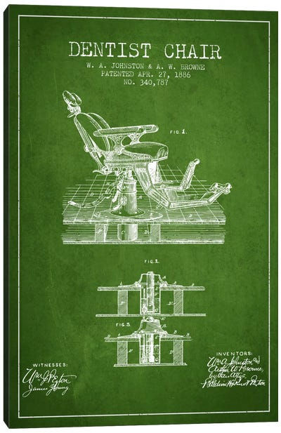 Dentist Chair Green Patent Blueprint Canvas Print #ADP1810