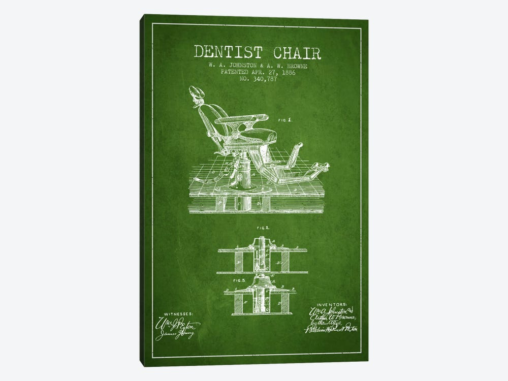 Dentist Chair Green Patent Blueprint by Aged Pixel 1-piece Canvas Art