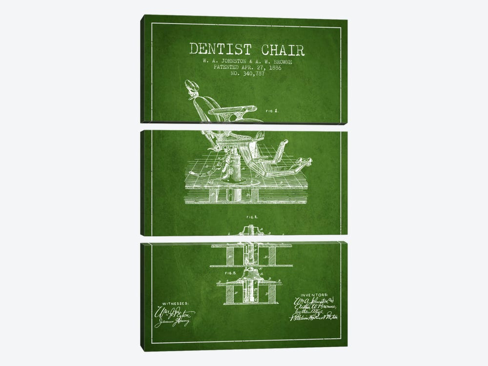 Dentist Chair Green Patent Blueprint by Aged Pixel 3-piece Canvas Art