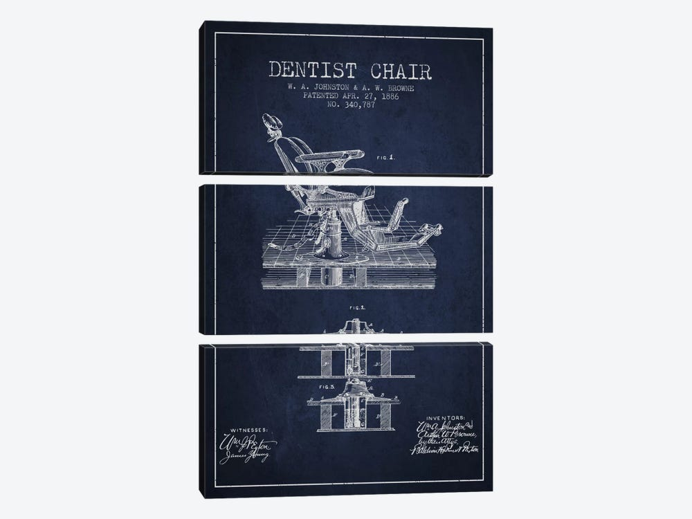 Dentist Chair Navy Blue Patent Blueprint by Aged Pixel 3-piece Canvas Print