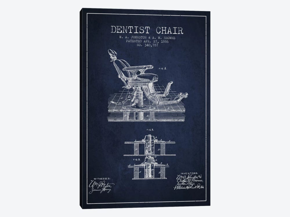 Dentist Chair Navy Blue Patent Blueprint by Aged Pixel 1-piece Canvas Art Print