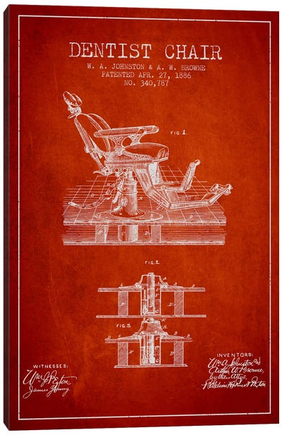 Dentist Chair Red Patent Blueprint Canvas Print #ADP1812