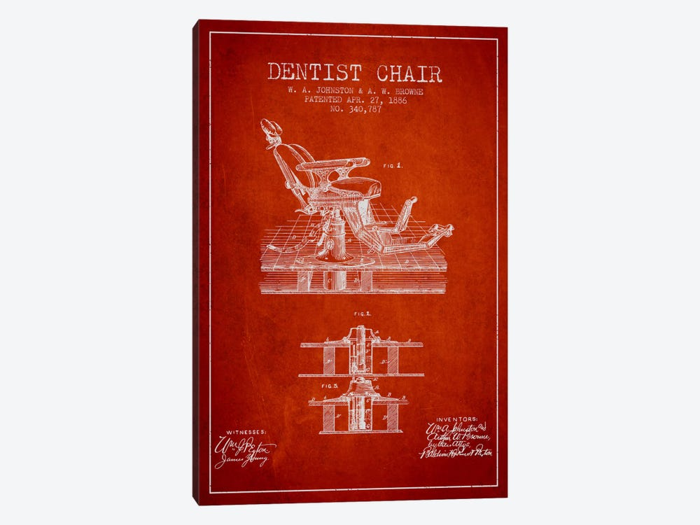 Dentist Chair Red Patent Blueprint by Aged Pixel 1-piece Canvas Artwork